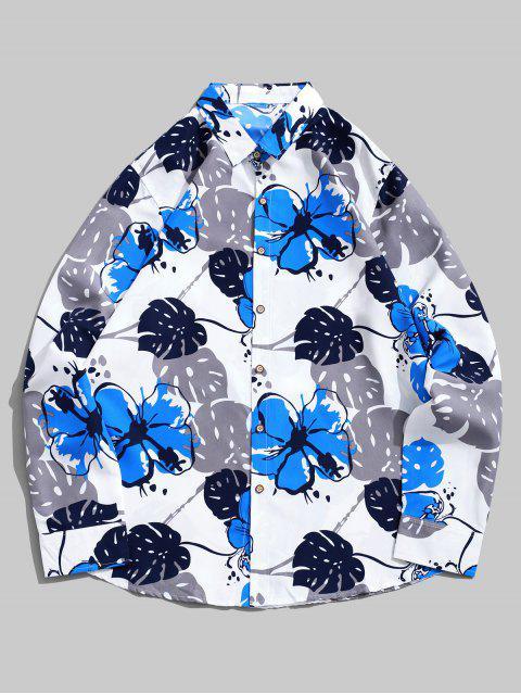 ladies Flower Print Long Sleeve Curved Hem Vacation Shirt - WHITE 3XL Mobile