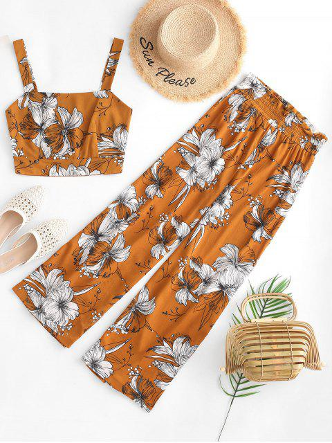fancy ZAFUL Cropped Floral Smocked Back Paperbag Pants Set - BEE YELLOW S Mobile
