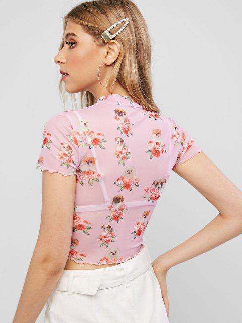 T-shirt Chien Court Fleuri en Maille Transparente - Rose Rosé L Mobile
