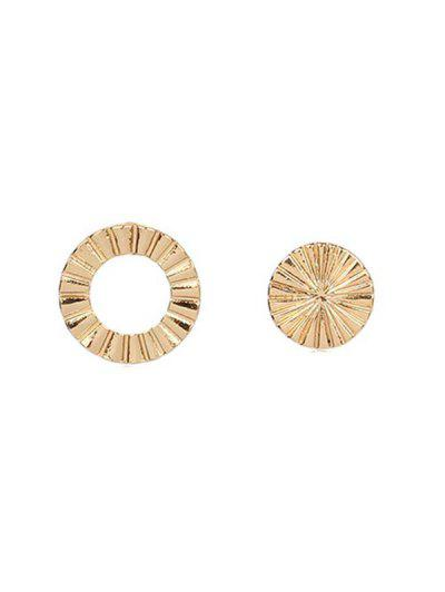 Asymmetric Round Stud Earrings - Gold