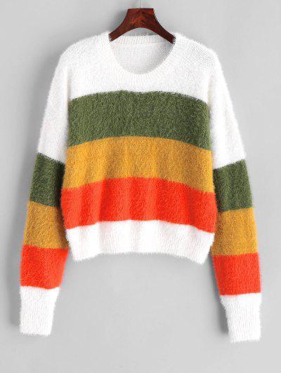ZAFUL Crew Neck Fluffy Color Block Stripes Sweater - Multi