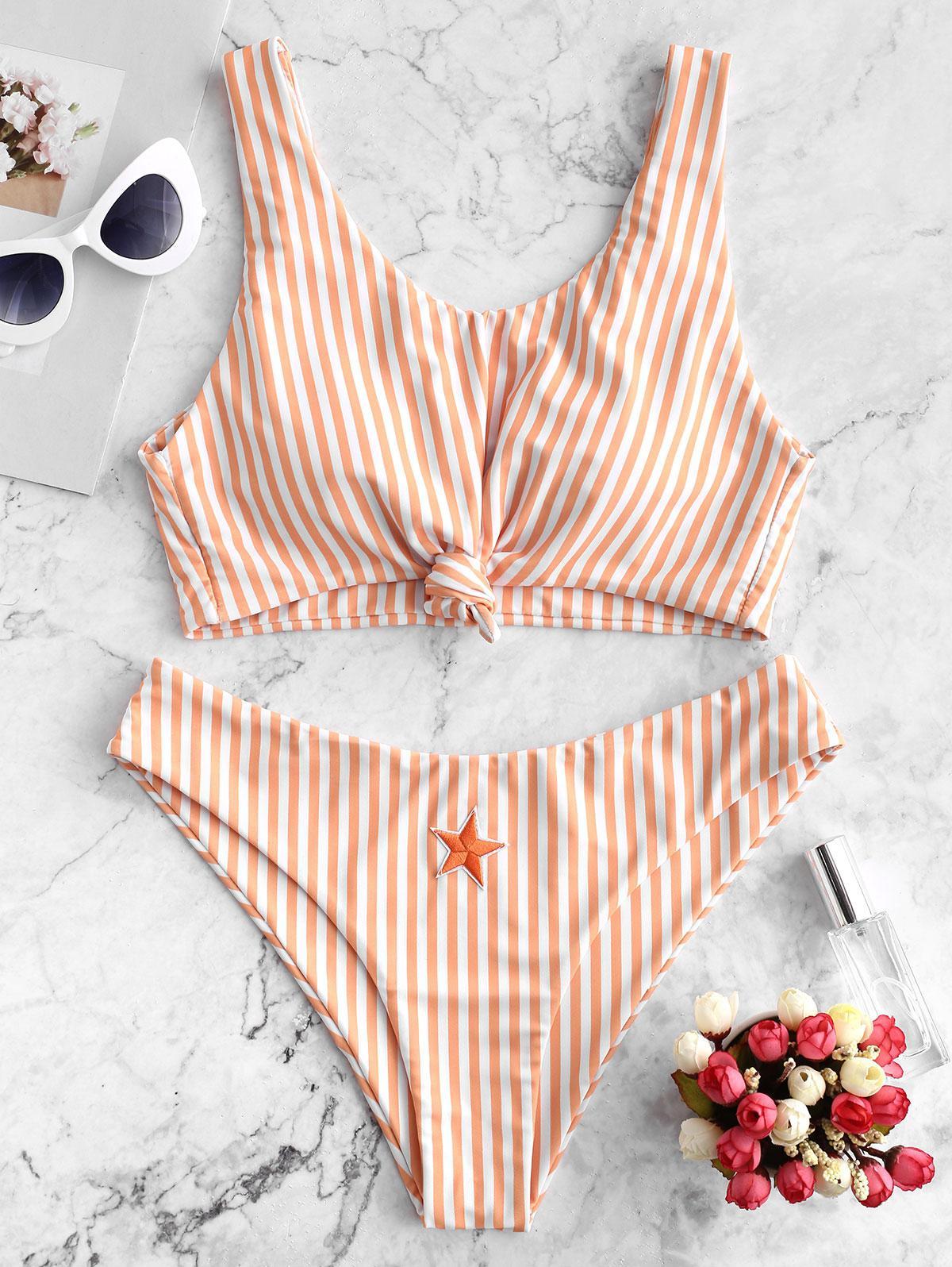 ZAFUL Knot Star Patch Striped Bikini Swimsuit фото