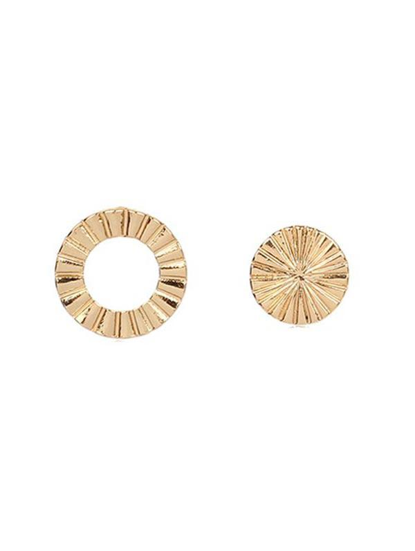 Asymmetric Round Stud Earrings, Gold