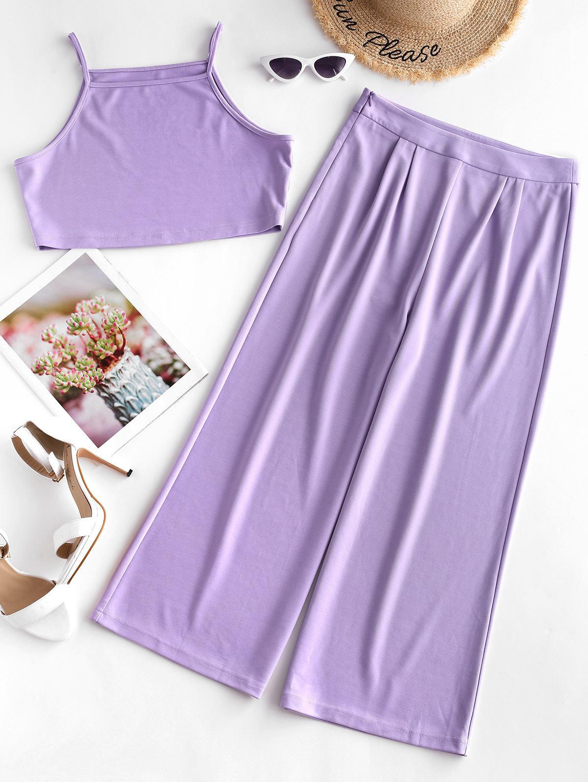 ZAFUL Crop Cami Top and Wide Leg Pants Set, Purple flower