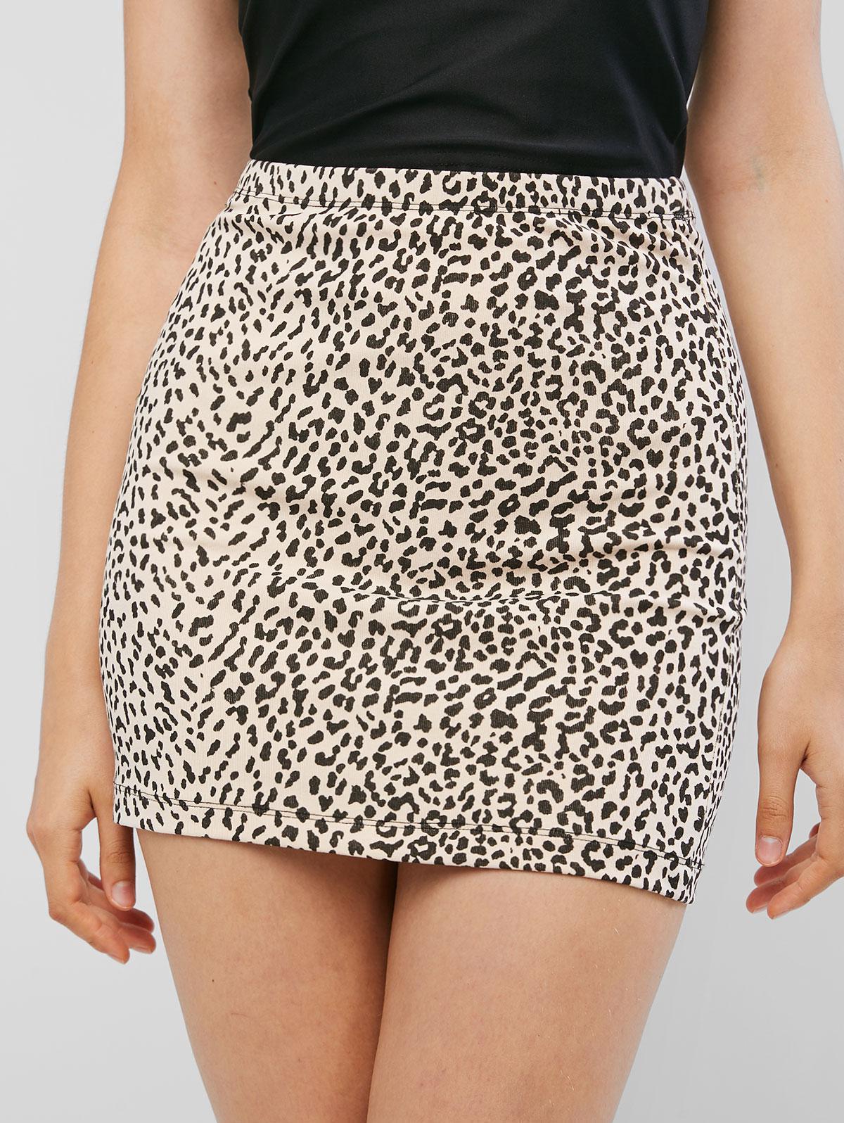 High Waist Leopard Print Sheath Skirt