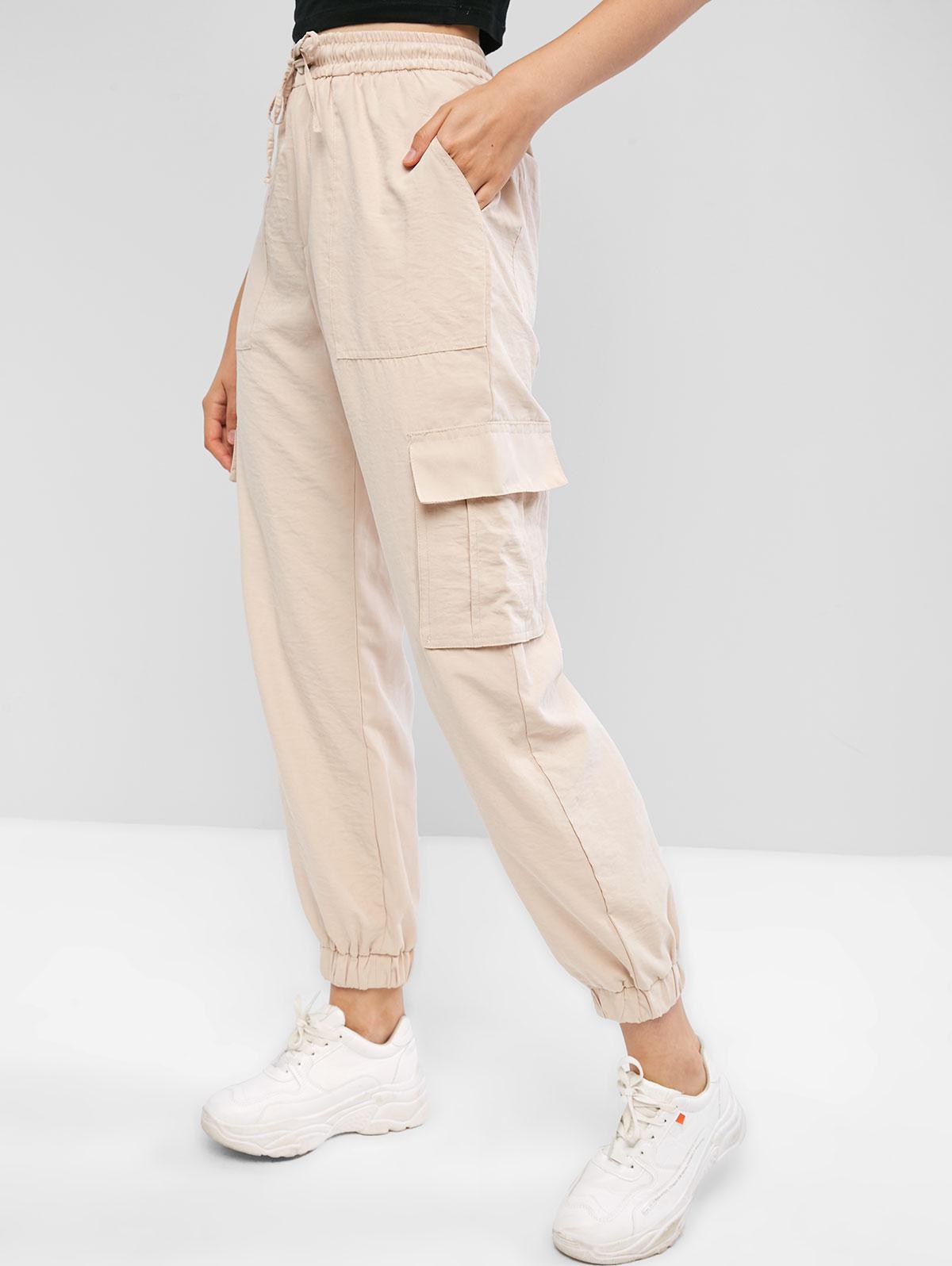 High Waisted Flap Pockets Jogger Pants, Tan