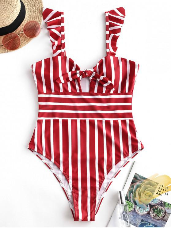 unique ZAFUL Ruffle Knot Striped One-piece Swimsuit - LAVA RED S