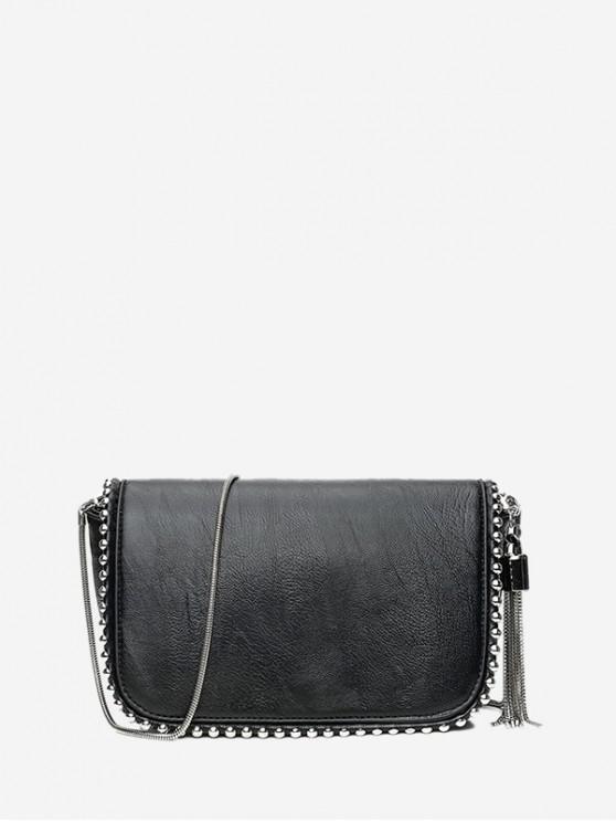 hot Tassel Solid Chain Shoulder Bag - BLACK
