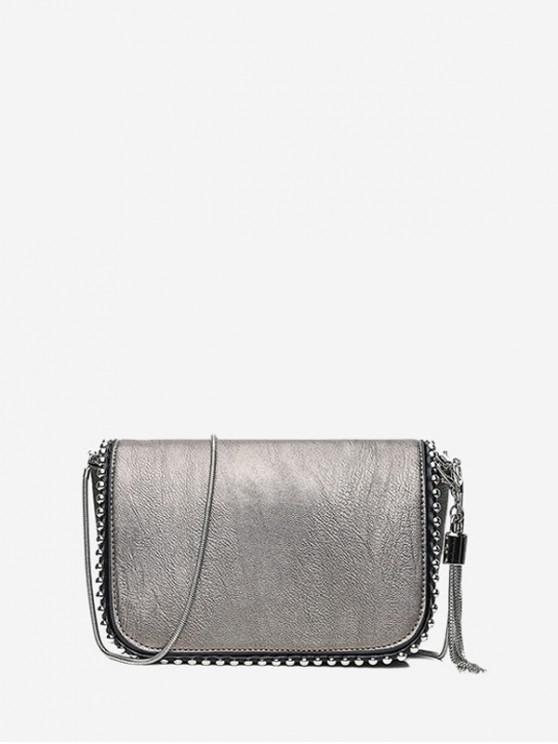 affordable Tassel Solid Chain Shoulder Bag - SILVER
