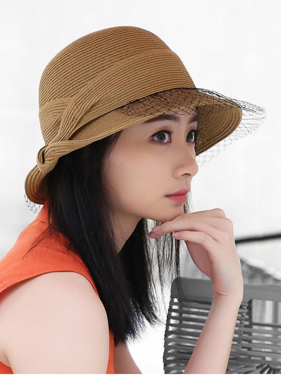 Cappello di paglia pieghevole con finiture in rete - Cachi Chiaro