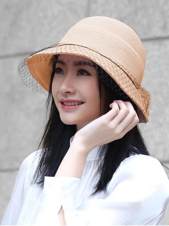 Cappello di paglia pieghevole con finiture in rete - Rosa