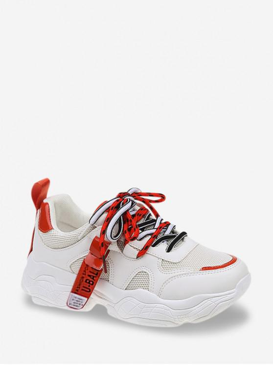 latest Mesh Trim Platform Dad Sneakers - RED EU 37