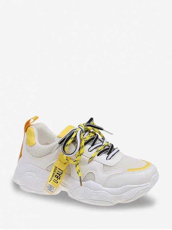 women Mesh Trim Platform Dad Sneakers - YELLOW EU 39