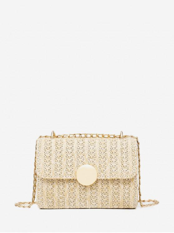 hot Rectangle Chain Straw Crossbody Bag - BEIGE