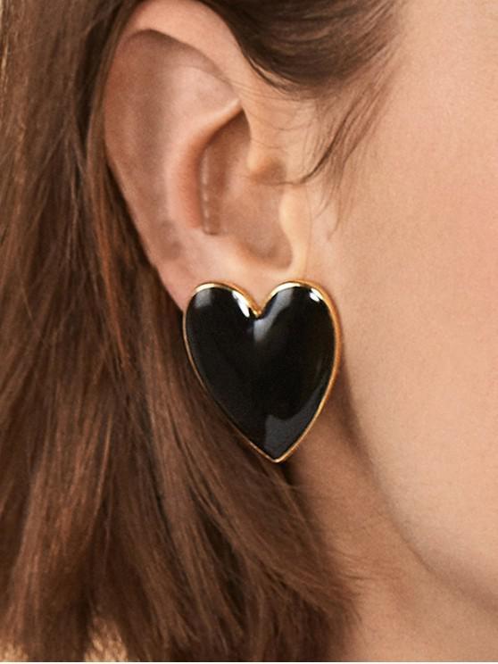 lady Heart Shape Romantic Stud Earrings - BLACK