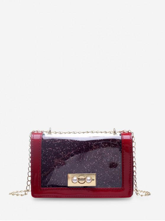 online Chain Transparent Square Shoulder Bag - RED WINE