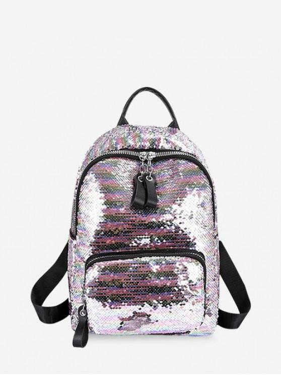 trendy Sparkle Flap Sequin Small Backpack - PIG PINK