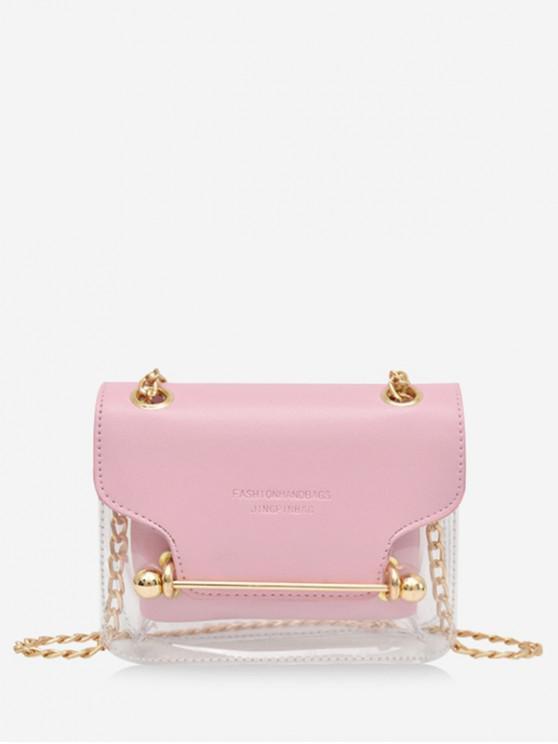 women Crossbody Character Pattern Transparent Shoulder Bag - PINK