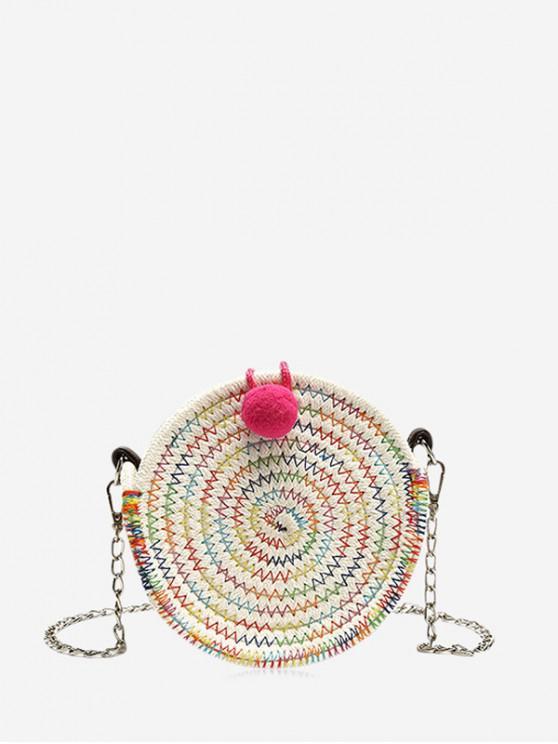 women's Round Chain Crossbody Canteen Bag - WATERMELON PINK