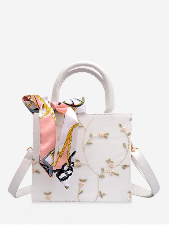 lady Printed Silk Embellished Floral Lace Crossbody Bag - WHITE