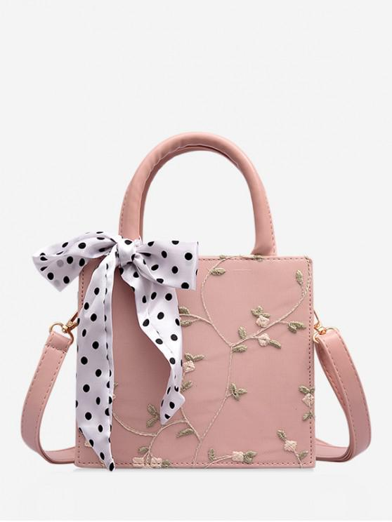 online Printed Silk Embellished Floral Lace Crossbody Bag - PINK