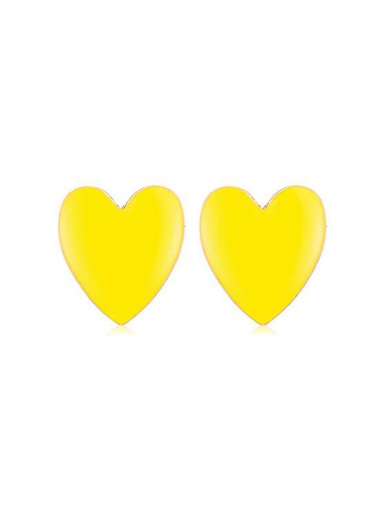 Orecchini a forma di cuore romantici - Giallo