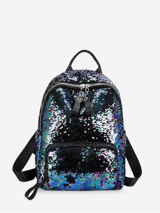 latest Sparkle Flap Sequin Small Backpack - LAPIS BLUE