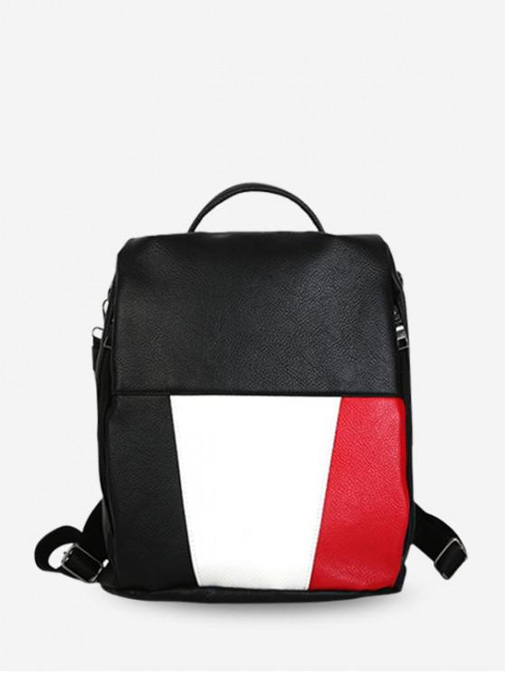 Zaino da viaggio in pelle PU Color Block - Nero