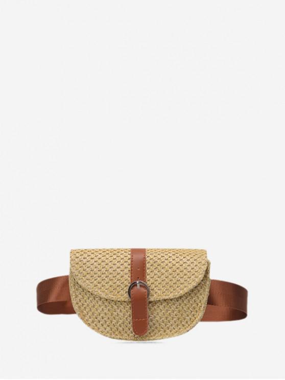 hot Crossbody Beach Semicircle Small Straw Bag - LIGHT KHAKI