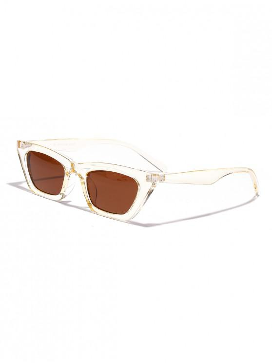 chic Vintage Colored Small Rectangle Sunglasses - BROWN