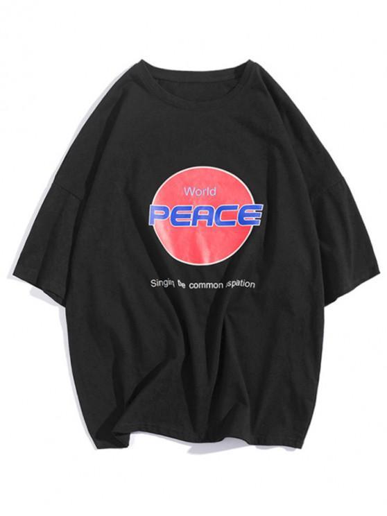 T-shirt con spalle scoperte con stampa grafica World Peace Letter - Nero L