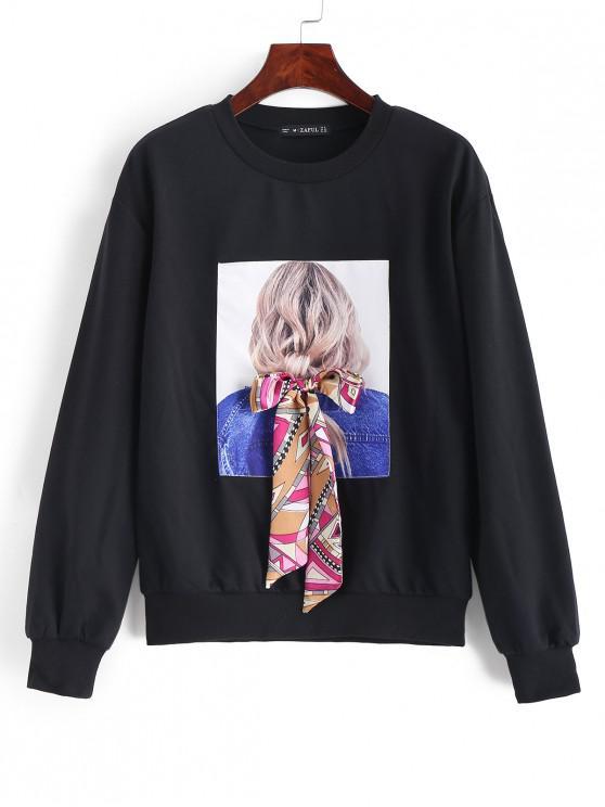 shops ZAFUL Bowknot Portrait Patched Drop Shoulder Sweatshirt - BLACK XL