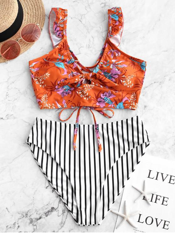 womens ZAFUL Lace Up Striped Floral Ruffles Tankini Swimsuit - RUST S