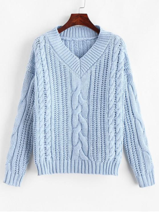Suéter sólido de punto grueso con cuello en V - Azul Claro Talla única
