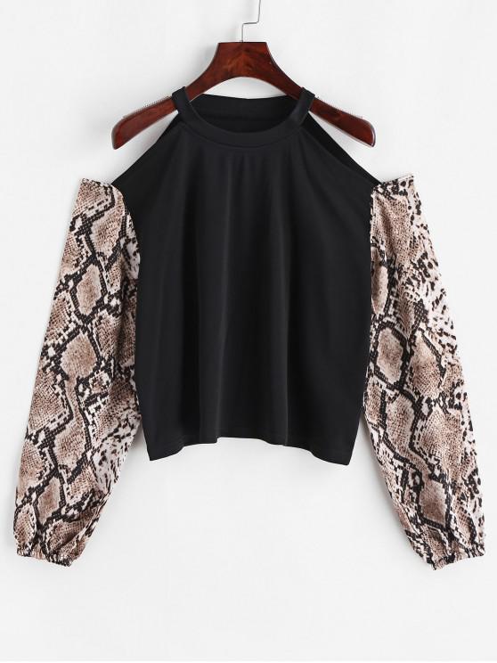 Sweat-Shirt Lâche Peau de Serpent Imprimé à Epaule Dénudée - Noir XL
