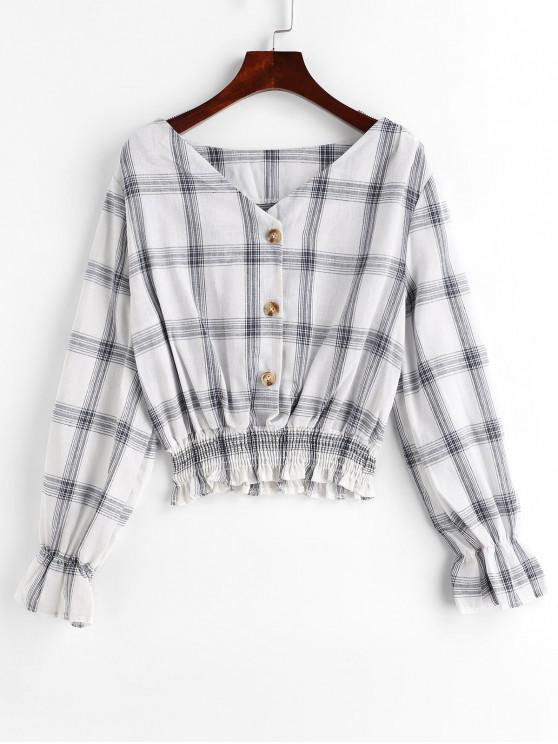 latest Buttons Poet Sleeve Plaid Blouse - WHITE S