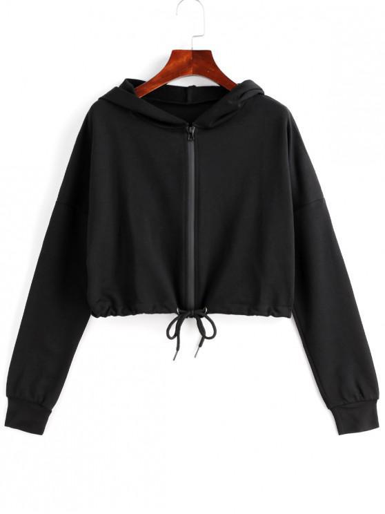sale Drop Shoulder Zip Up Drawstring Crop Hoodie - BLACK L