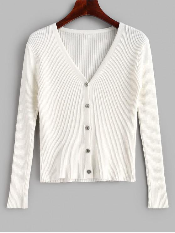 shops V Neck Ribbed Button Up Cardigan - WHITE ONE SIZE