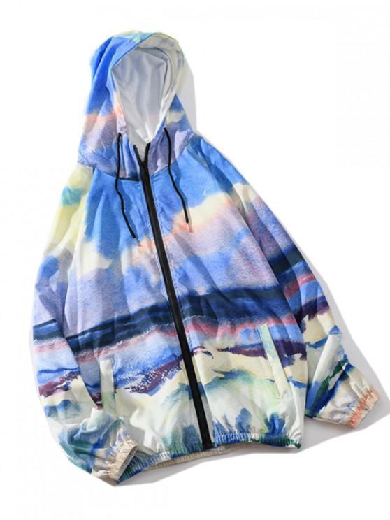 trendy Colored Scenery Painting Raglan Sleeve Jacket - MULTI M