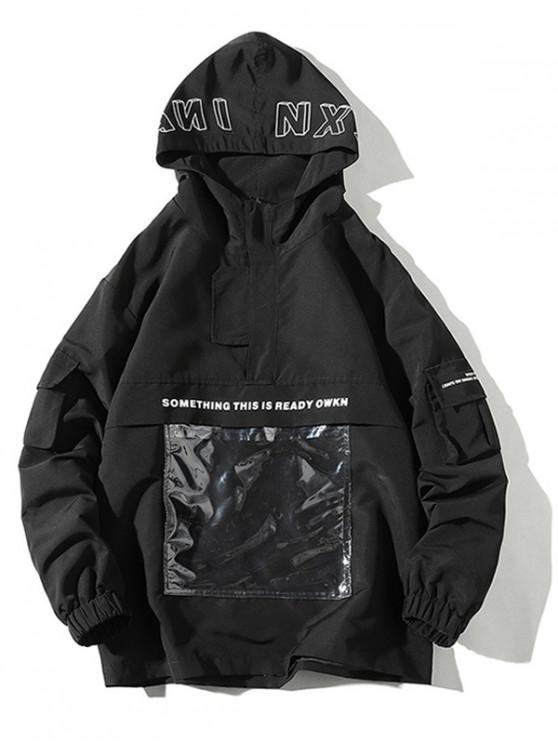 Transparenter Taschen-Hoodie mit Grafikdruck - Schwarz S