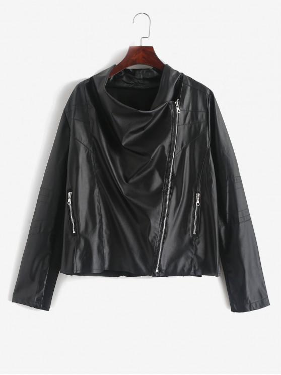 PU-Leder-Bikerjacke mit Reißverschlusstaschen - Schwarz M