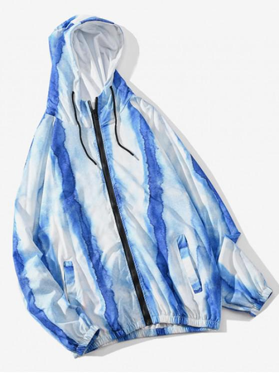 fashion Tie Dye Casual Raglan Sleeve Hooded Jacket - LIGHT SKY BLUE L