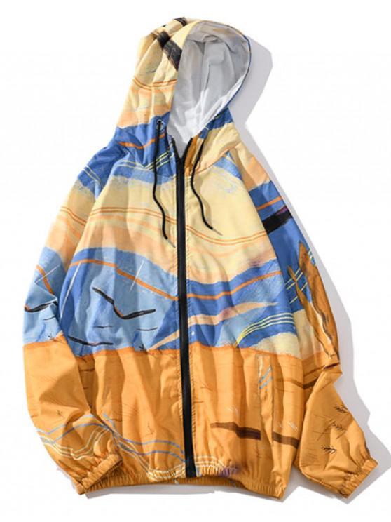 Desert Walking - Chaqueta con capucha, mangas raglán, diseño gráfico, rayas - Multicolor M