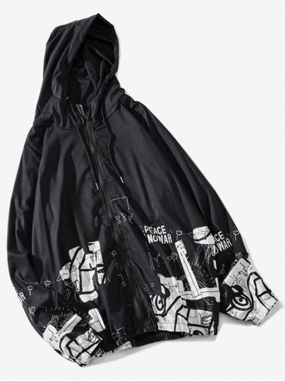 Chaqueta con capucha y manga raglán con gráfico Peace No War - Negro XL