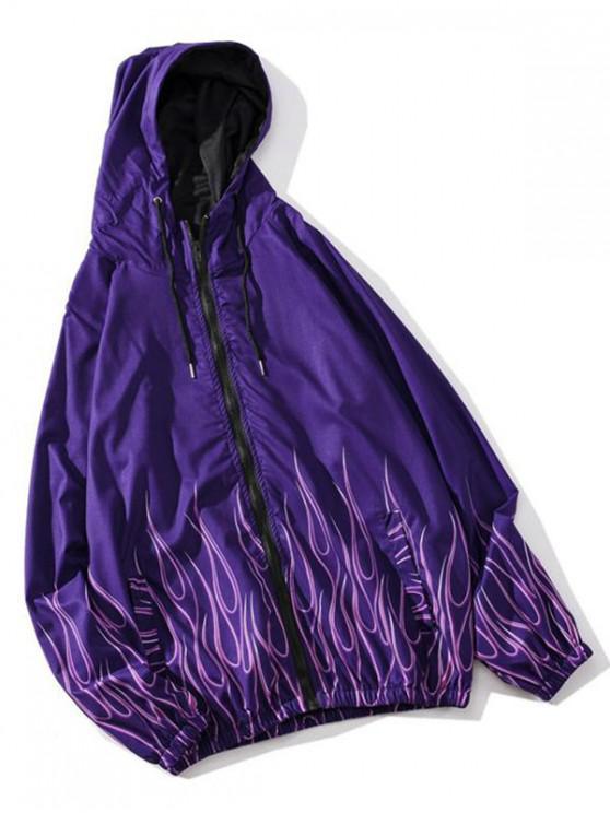 women's Hooded Flame Print Raglan Sleeve Casual Jacket - PURPLE FLOWER XL