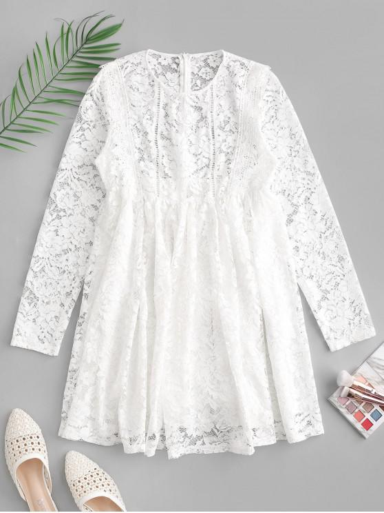 sale ZAFUL Long Sleeves Lace Mini A Line Dress - WHITE XL