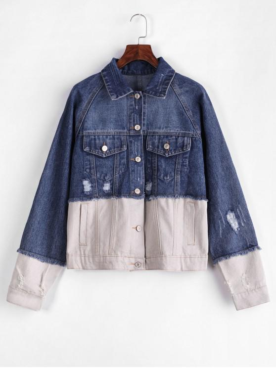 trendy Distressed Button Up Two Tone Denim Jacket - MULTI L