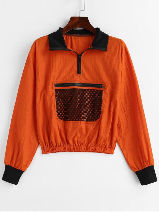 latest Half Zip Openwork Pocket Pullover Jacket - SANDY BROWN M