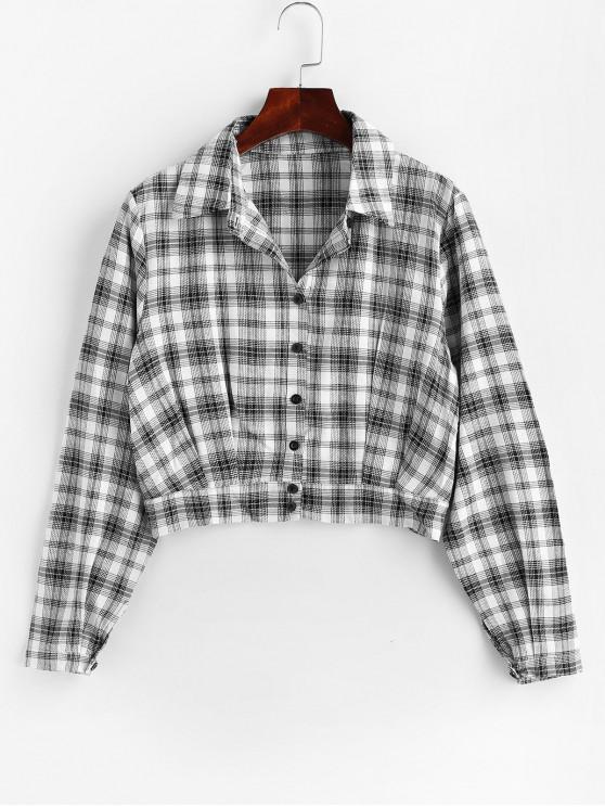 affordable Button Up Plaid Shirt - MULTI L
