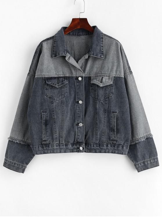 womens Contrast Frayed Button Up Denim Jacket - DENIM BLUE L